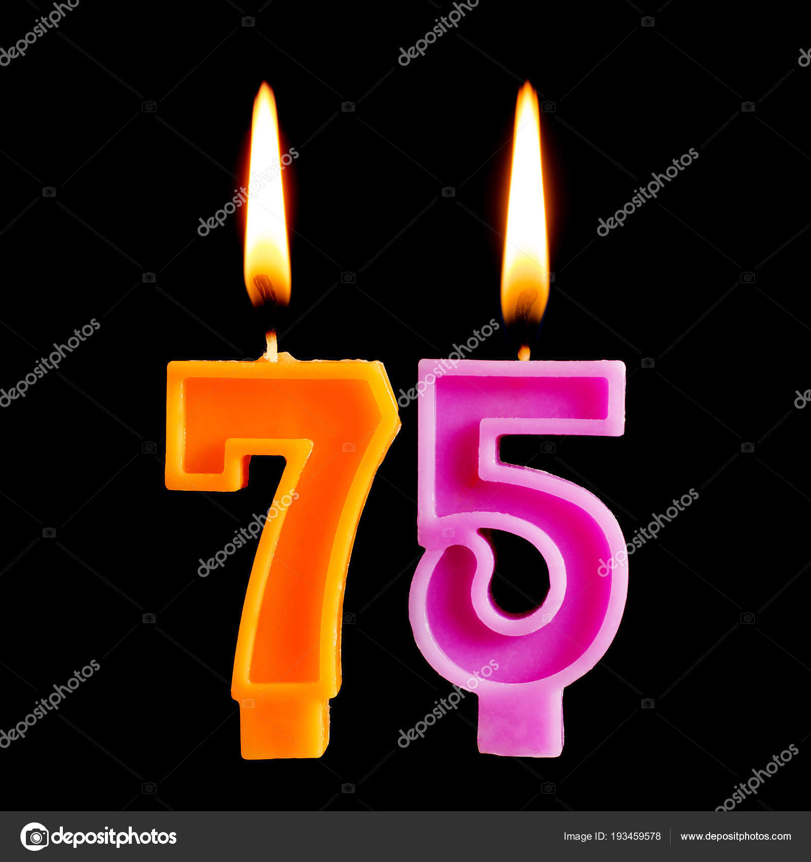 Burning Birthday Candles In The Form Of 75 Seventy Five Figures For Cake Isolated On Black Background Concept Celebrating A Anniversary