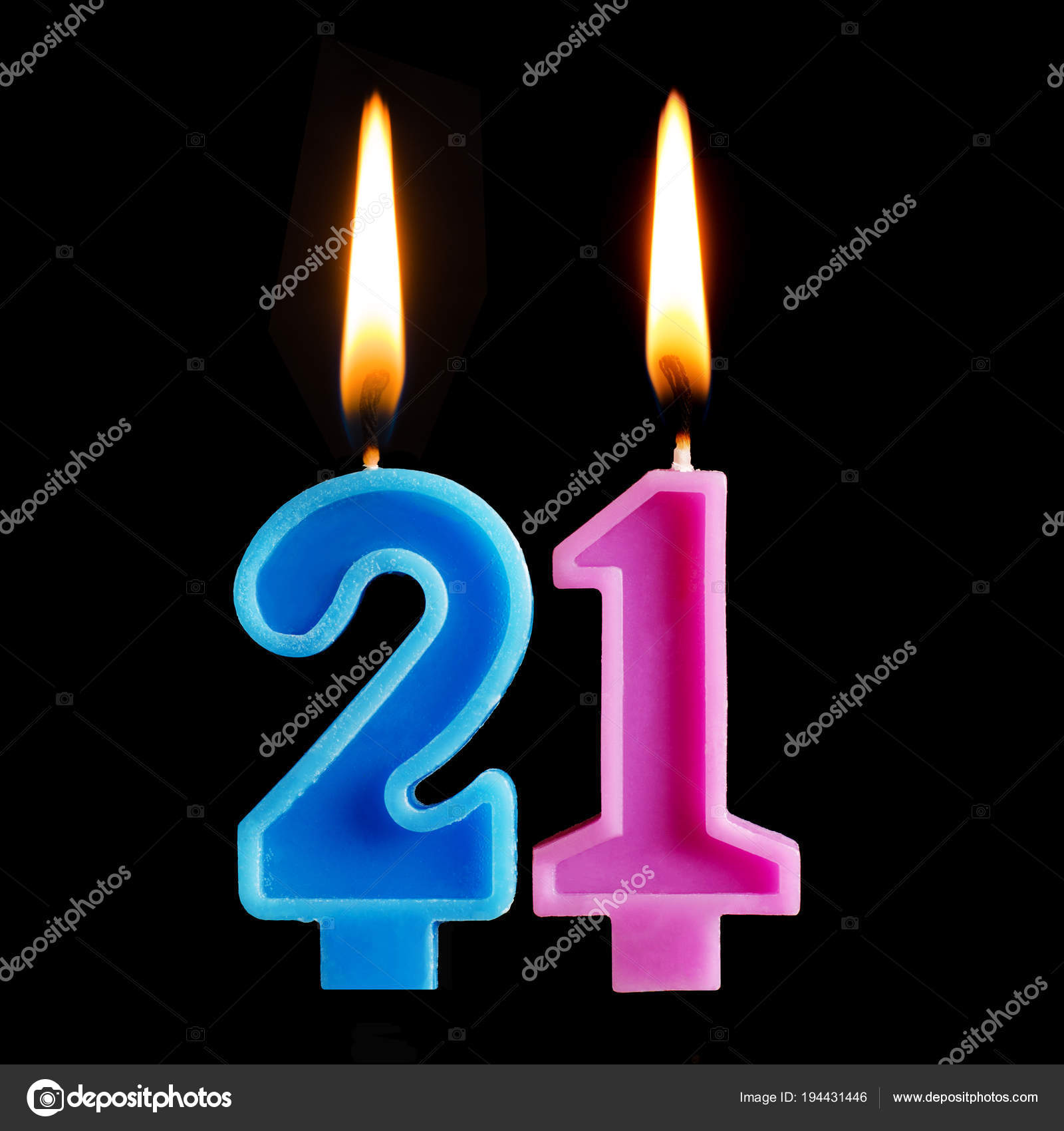 Burning Birthday Candles In The Form Of 21 Twenty One For Cake Isolated On Black Background Concept Celebrating A Anniversary