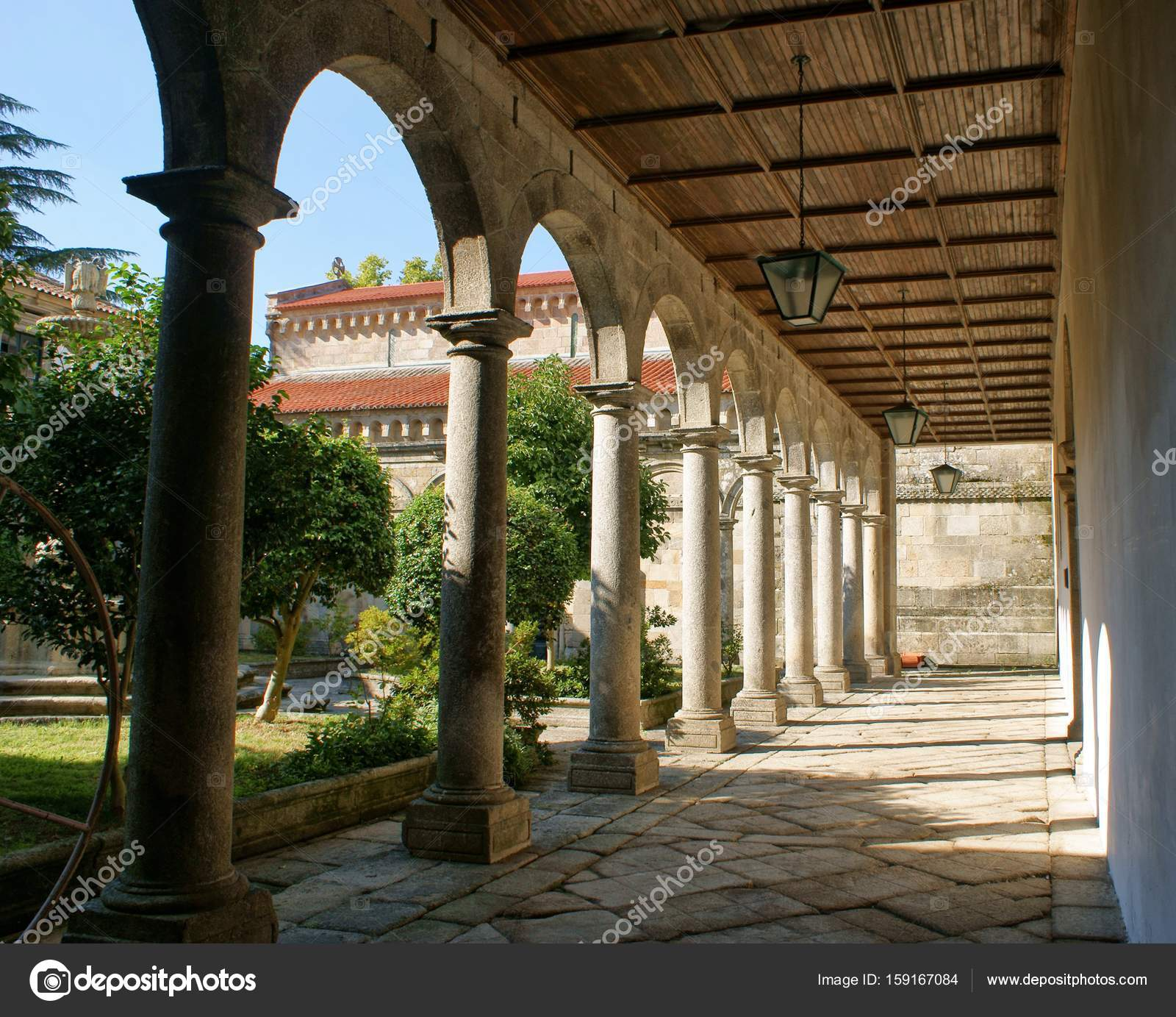 Cloister of romanesque monastery of Paço de Sousa in Penafiel, north of Portugal