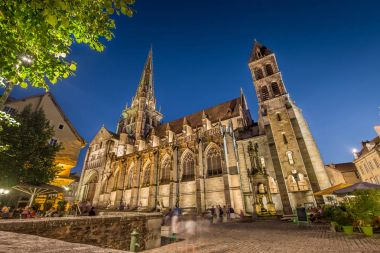 Historic town of Autun with St. Lazare Cathedral at night, Burgundy, France