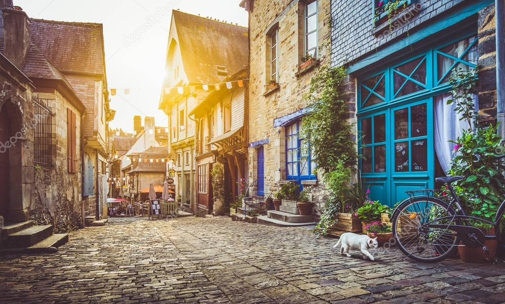 Фотообои Old town in Europe at sunset with retro vintage Instagram style filter effect