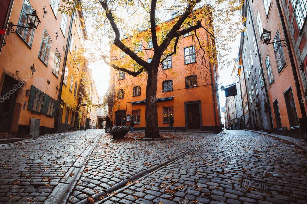 Фотообои Street scene in Stockholm's historic Gamla Stan district, Sweden