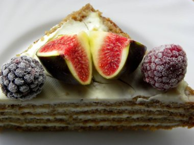 fruit cake on a white plate