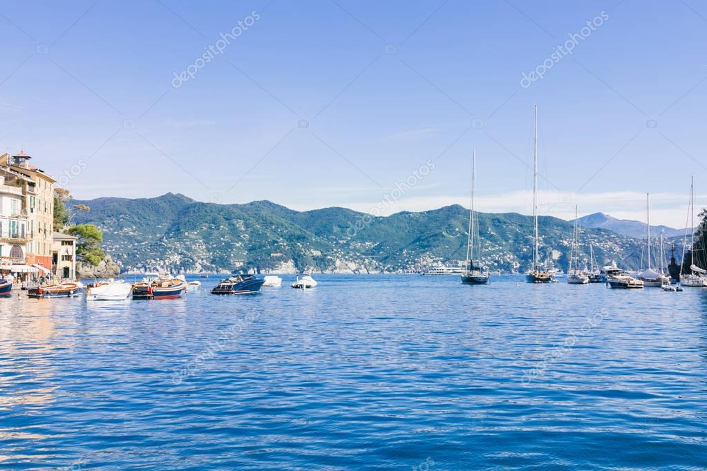 boats in beautiful sea bay and picturesque seascape in Portovenere, Italy