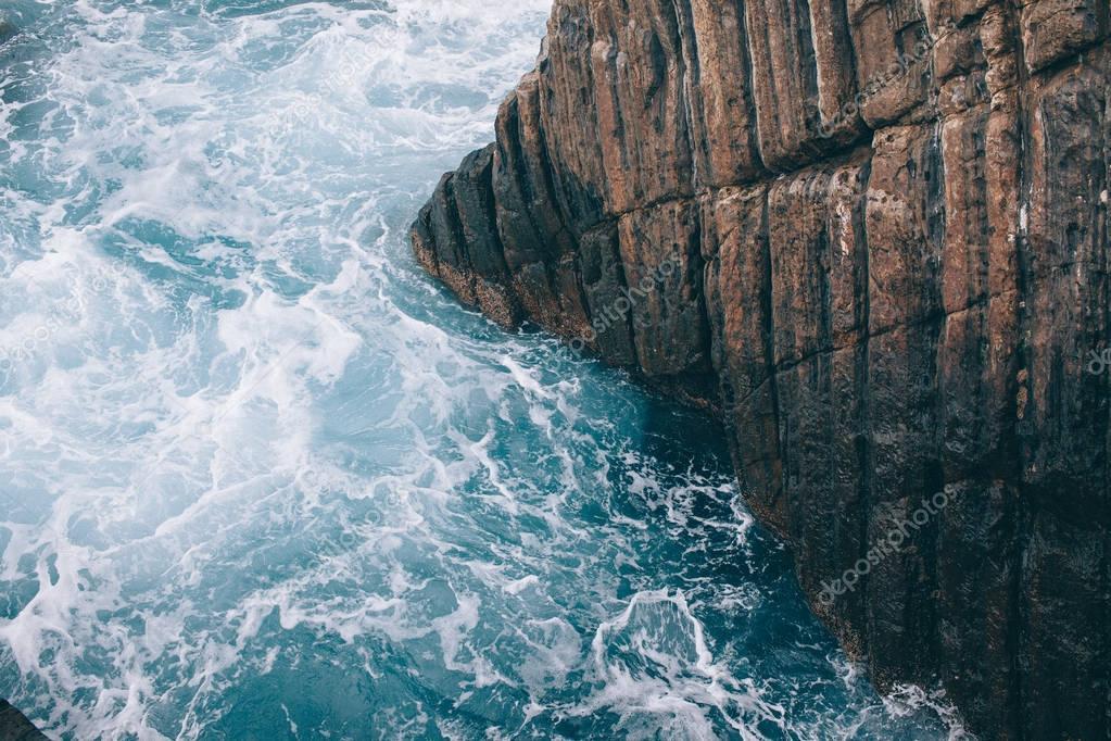 beautiful  picturesque  landscape with cliff in sea, Riomaggiore, Italy