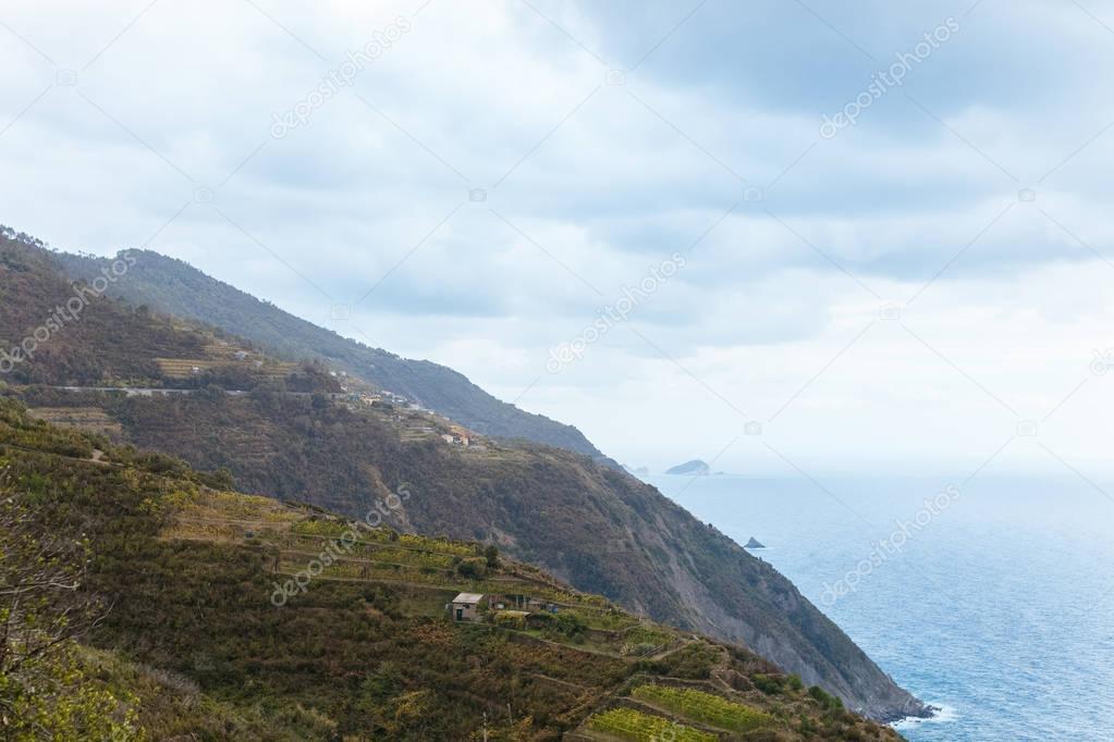 beautiful landscape with grassy hills and seascape in Riomaggiore, Italy