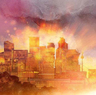 Sunset over modern city