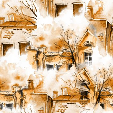 Spring, sky, trees, houses
