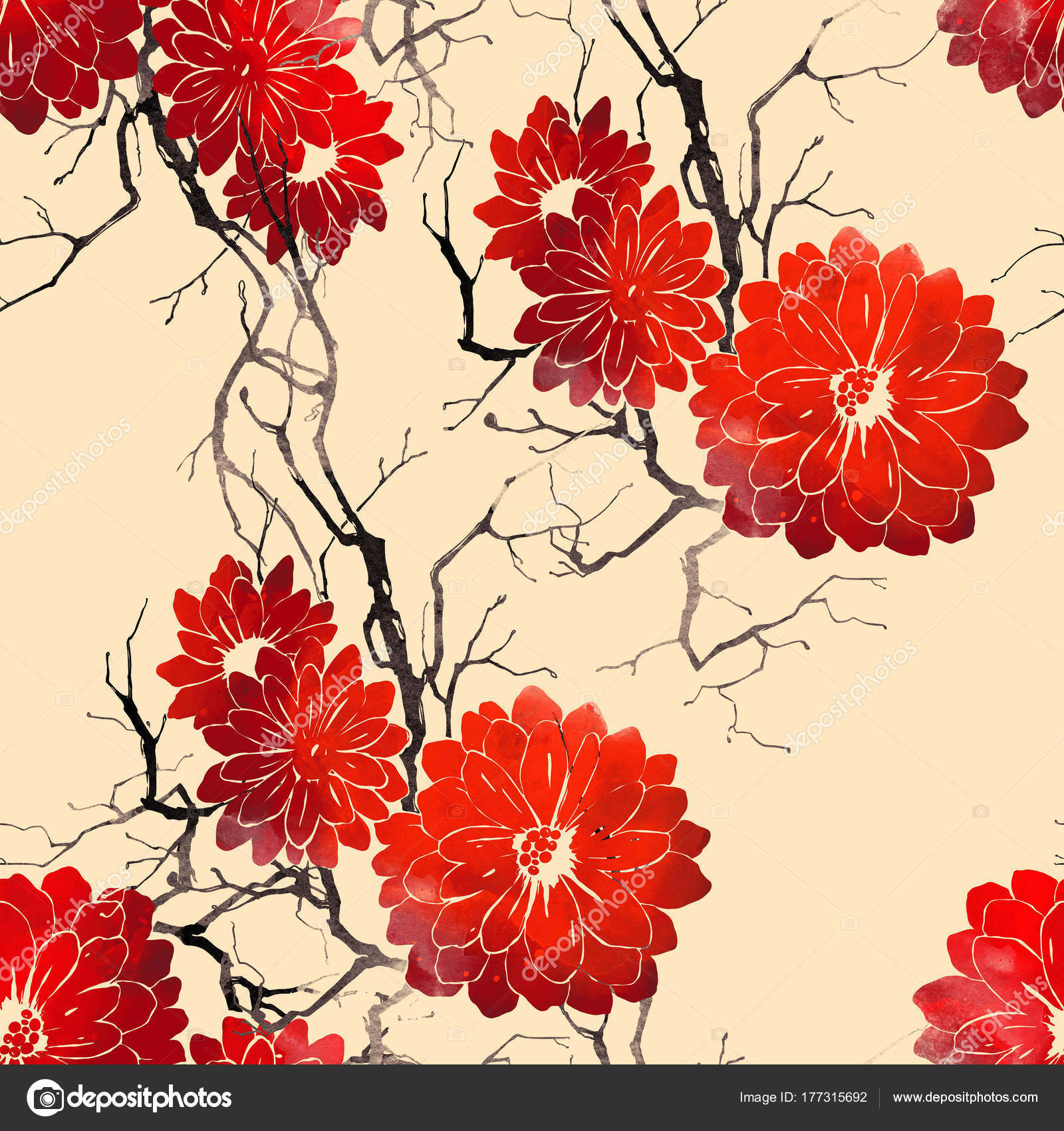 Watercolor Digital Hand Drawn Seamless Pattern Imprints Abstract Red ...