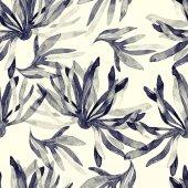 Sumi-e styl bezešvé vzor s otisky abstraktní květiny a listy