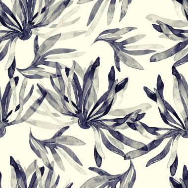 sumi-e style seamless pattern with imprints abstract flowers and leaves