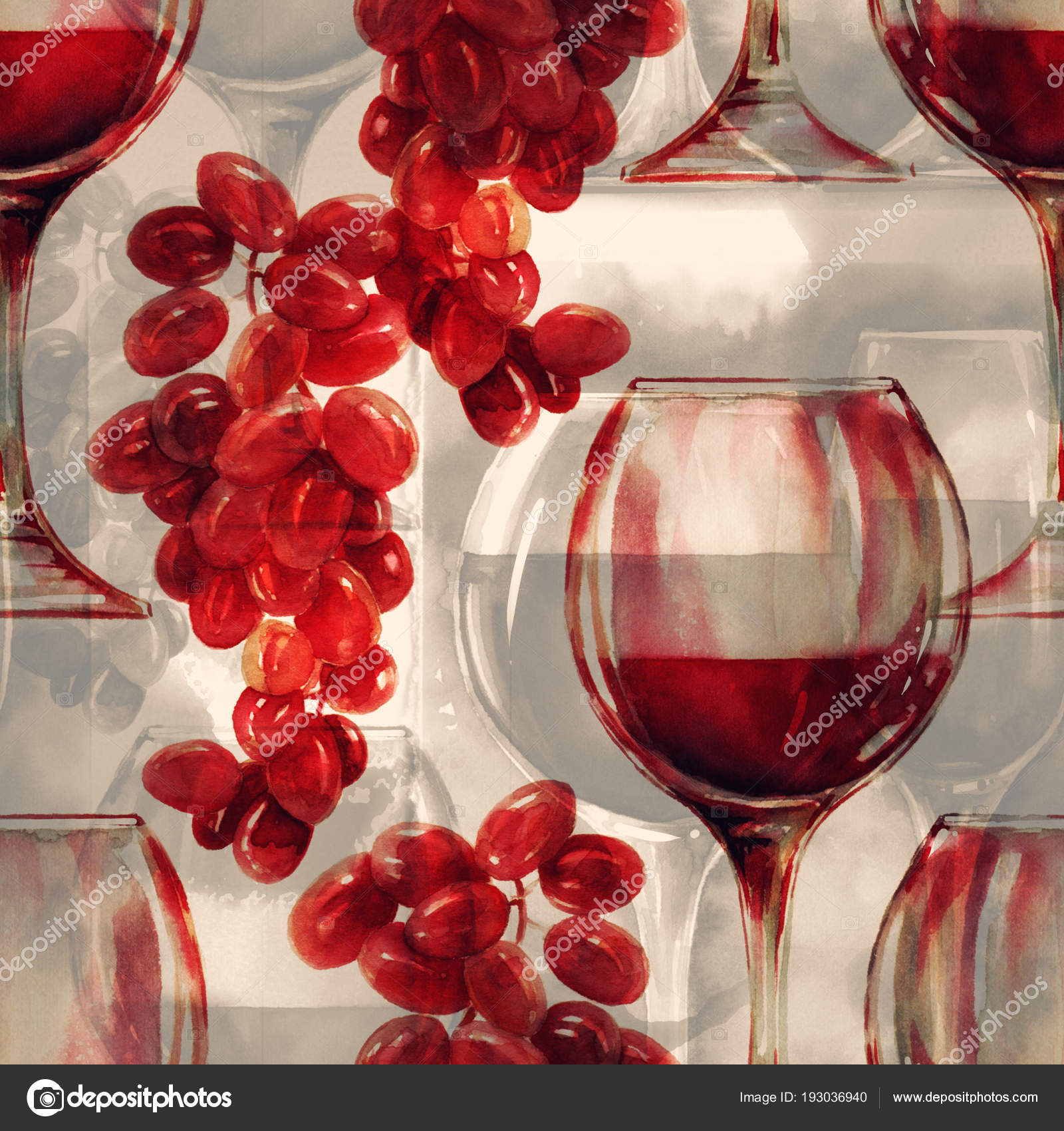 Wine Grape Mix Repeat Seamless Pattern Watercolour Digital