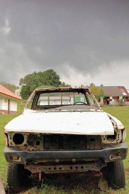 Remains of old abandoned car. Olal village-Ambrym island-Vanuatu. 6052