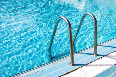Clear transparent pool water and railings stock vector