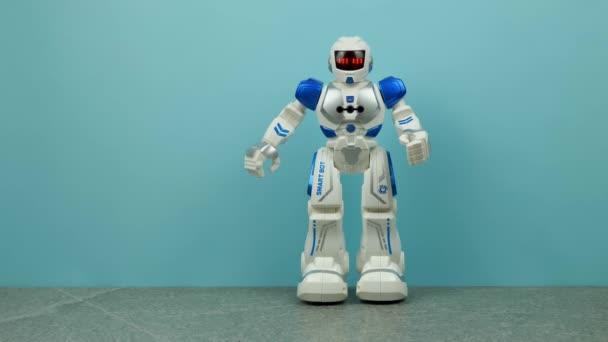 fehér kék robot matricák kék háttér.