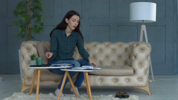Busy young woman doing domestic accounting at home