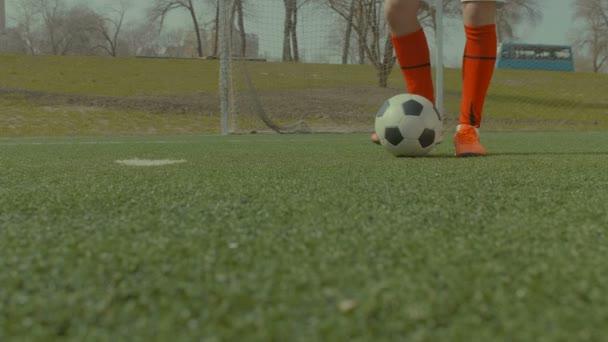 Fotbalista kope fotbalový míč na hřišti