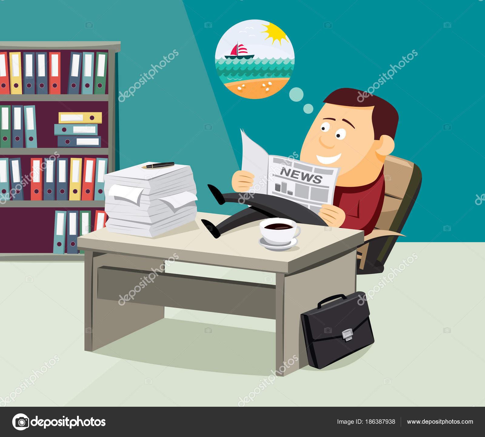 Kaffee Pause Lustige Geschäftsmann Liest Eine Zeitung Büro über