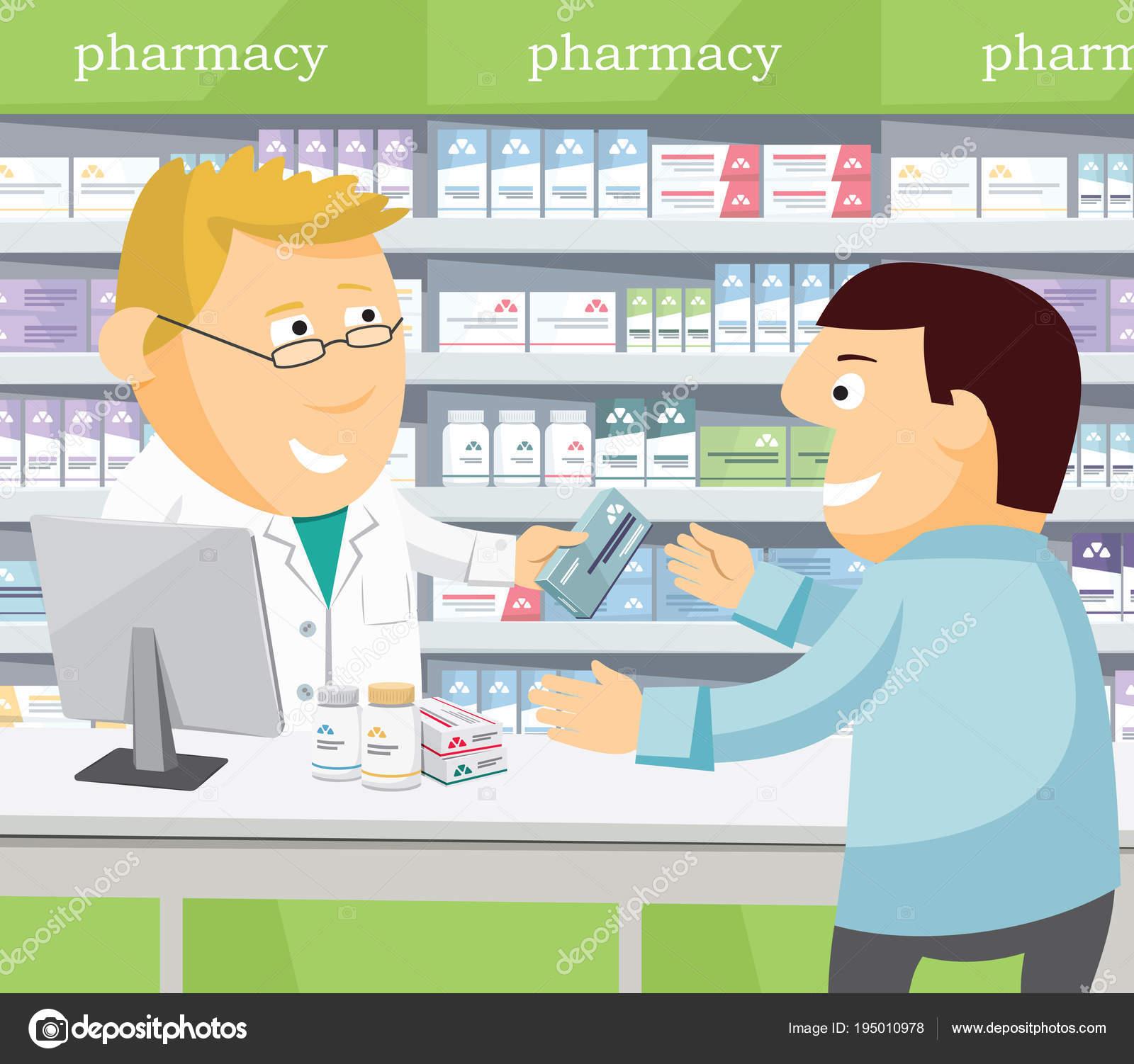 f186b0a97ef9d Hombre de químico farmacéutico en la farmacia. Hombre compra medicamentos  en la farmacia. Venta
