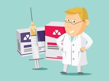 Pharmacist chemist man. Sale of vitamins and medications.