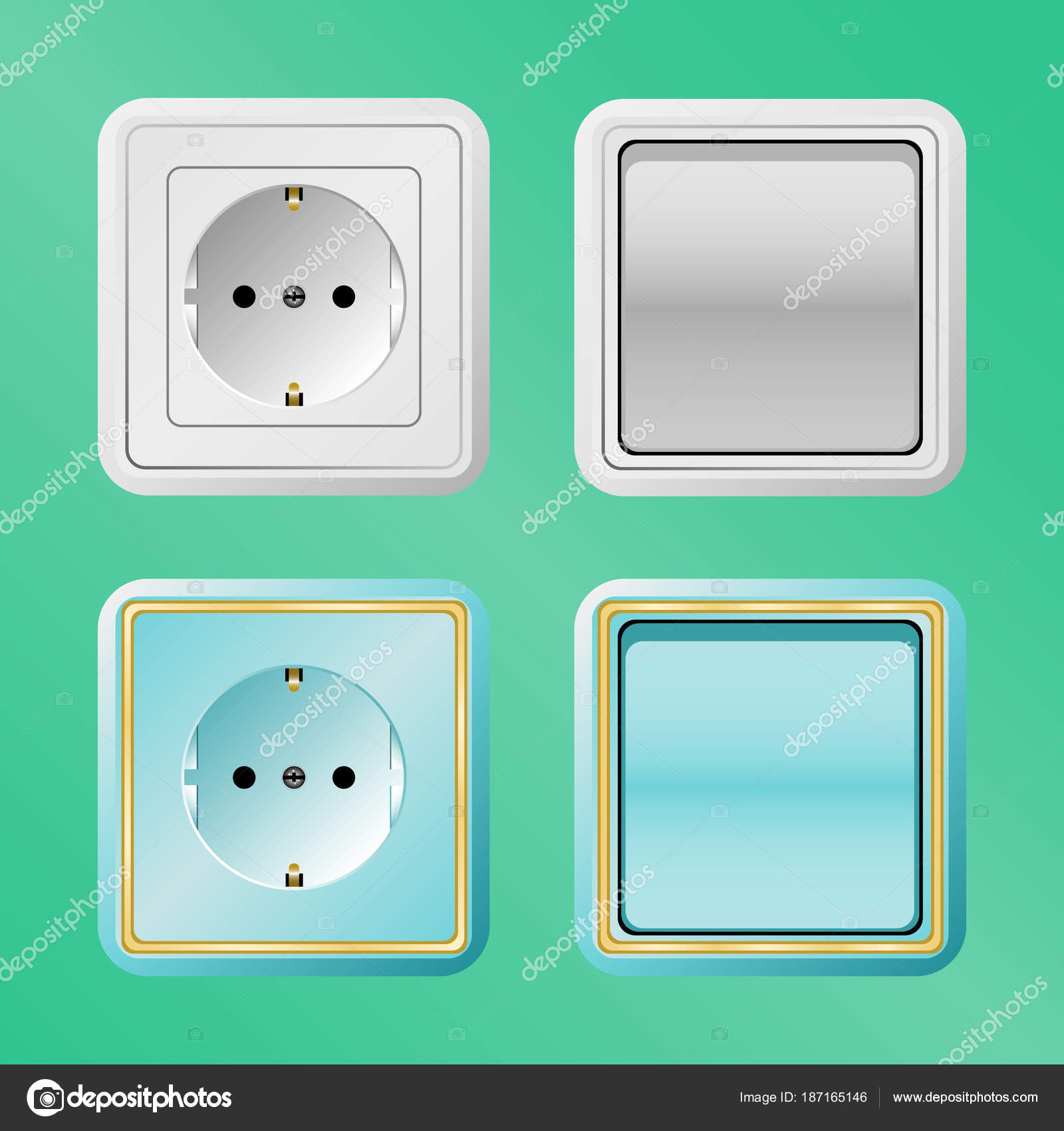 electric switches and sockets on a green background — Stock Vector ...