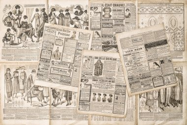 Newspaper pages with antique advertising. Fashion magazine