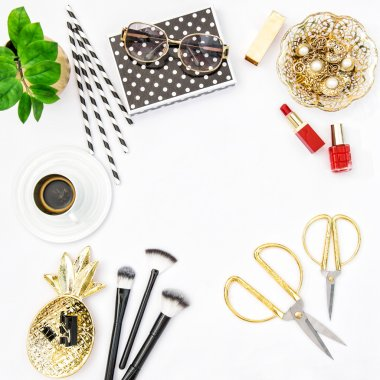 Fashion accessories cosmetics coffee. Flat lay social media