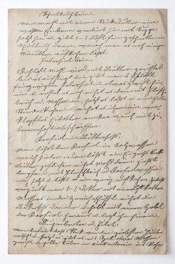 Handwritten text. Vintage paper background texture