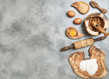 Food background. Eggs, flour, sugar, almond. Ingredients dough