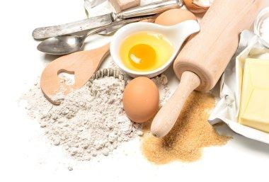 Food background. Dough preparation. Baking ingredients