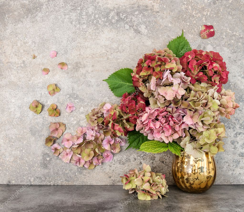 Hortensia flowers bouquet grungy stone background