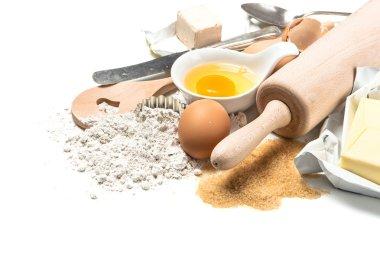Food background Baking ingredients Wooden kitchen utensils