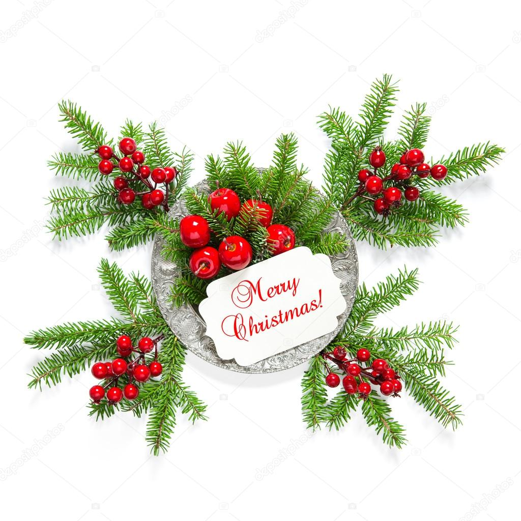 christmas tree branches red berries decoration greetings card stock photo - Red Berry Christmas Tree Decorations