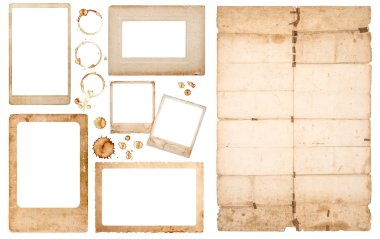 Aged photo frames used paper sheet coffee stains scrapbook