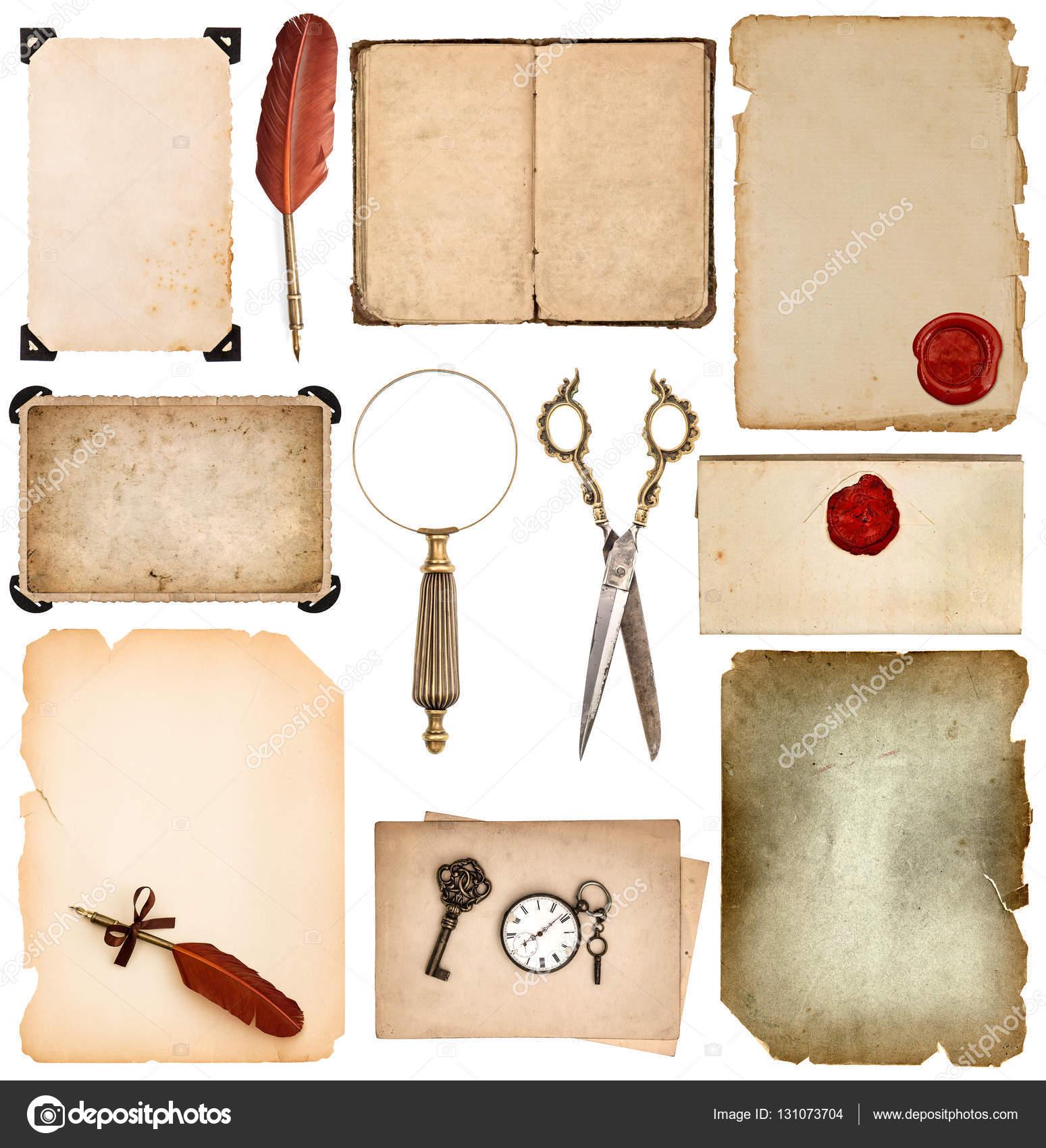 Set utiliza papel hojas bordes Vintage libro páginas foto marco ...