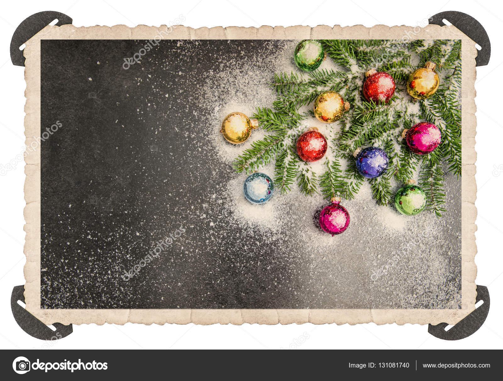 Retro Style Christmas Card Corner Vintage Photo Frame Stock Photo