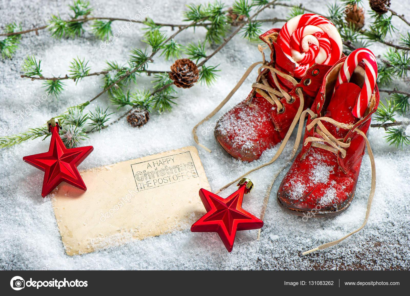Navidad decoraci n rojo estrellas antiguo beb zapatos for Adornos navidenos 2017 trackid sp 006