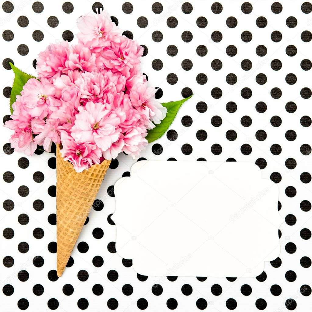 Cherry tree blossom ice cream waffle cone paper tag