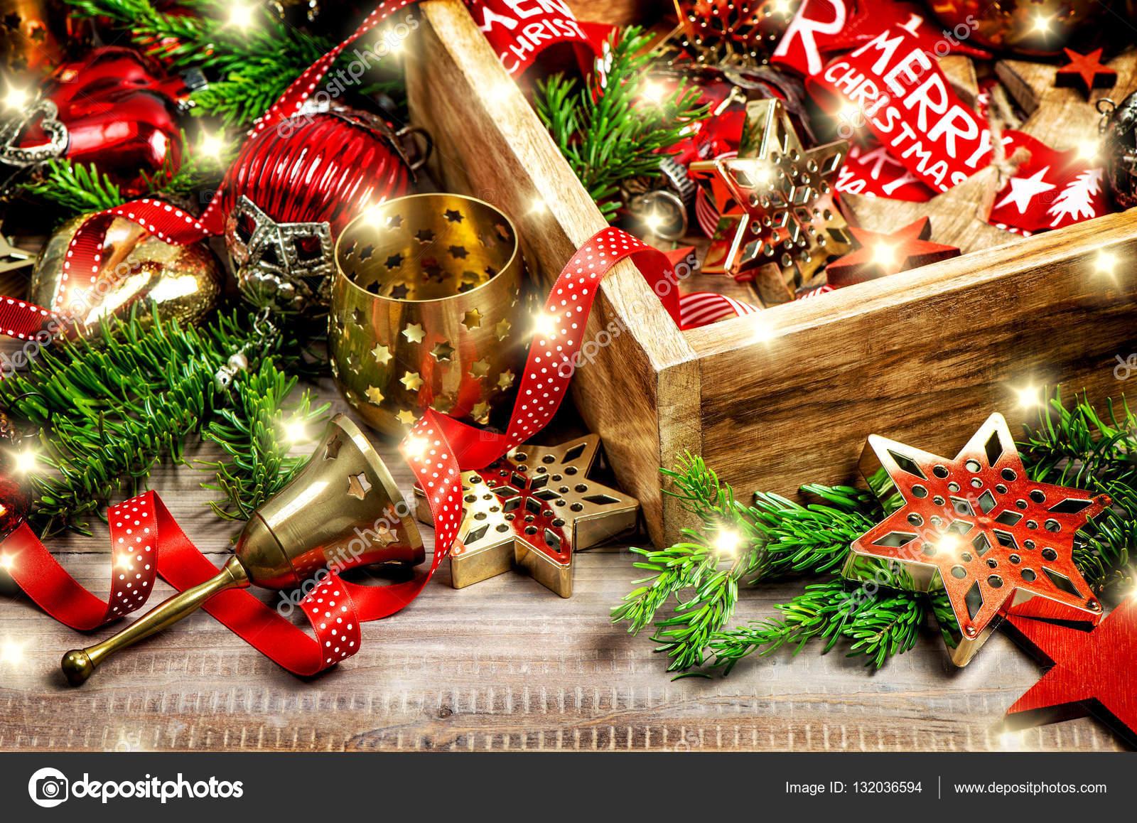 kerst verlichting decoratie ornamenten vintage stockfoto
