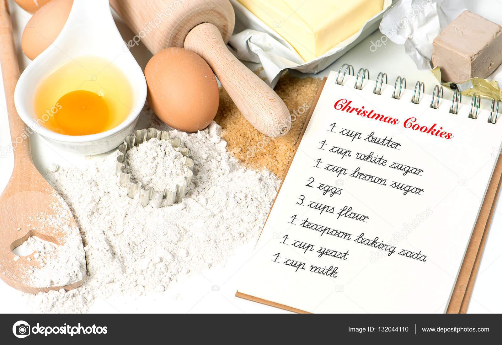 Weihnachtsplätzchen Zutaten.Weihnachtsplätzchen Backen Zutaten Essen Hintergrund Rezept