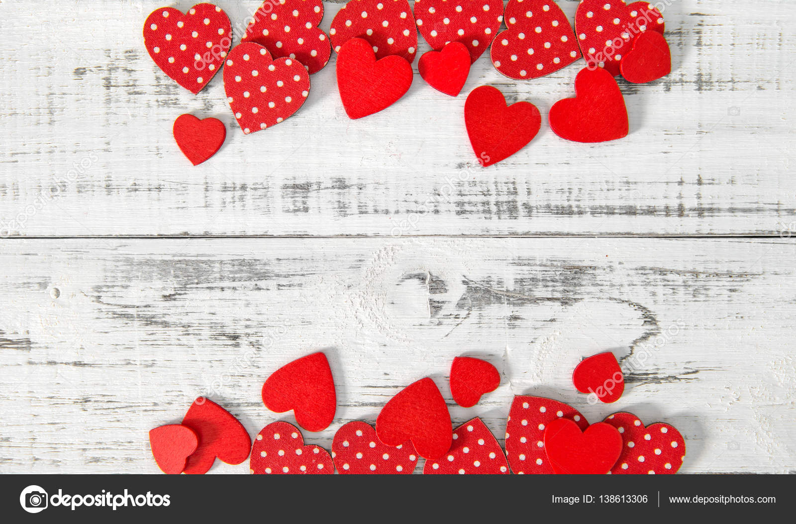 Red Hearts Rustic Wooden Texture Valentines Day Background Stock Photo