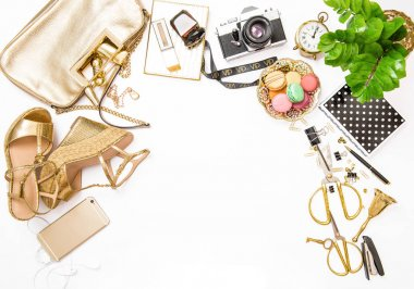 Fashion flat lay for web site social media Feminine accessories