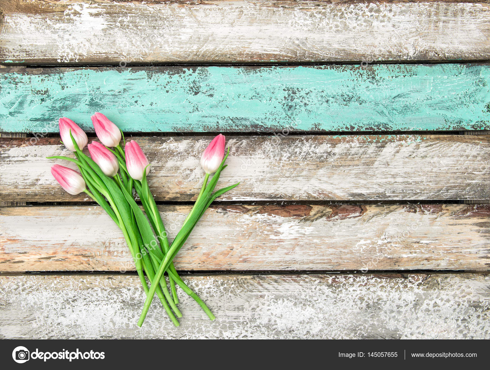 Spring Tulip Flowers On Rustic Wooden Background Photo By LiliGraphie