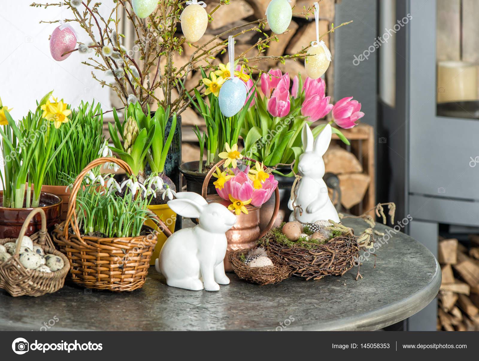 Wielkanoc Dekoracja Kwiaty Jaj Uroczysty Wnętrza Domu