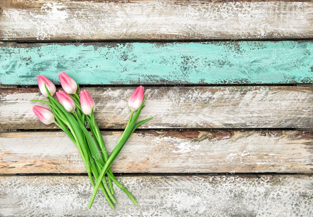Spring tulip flowers wooden background