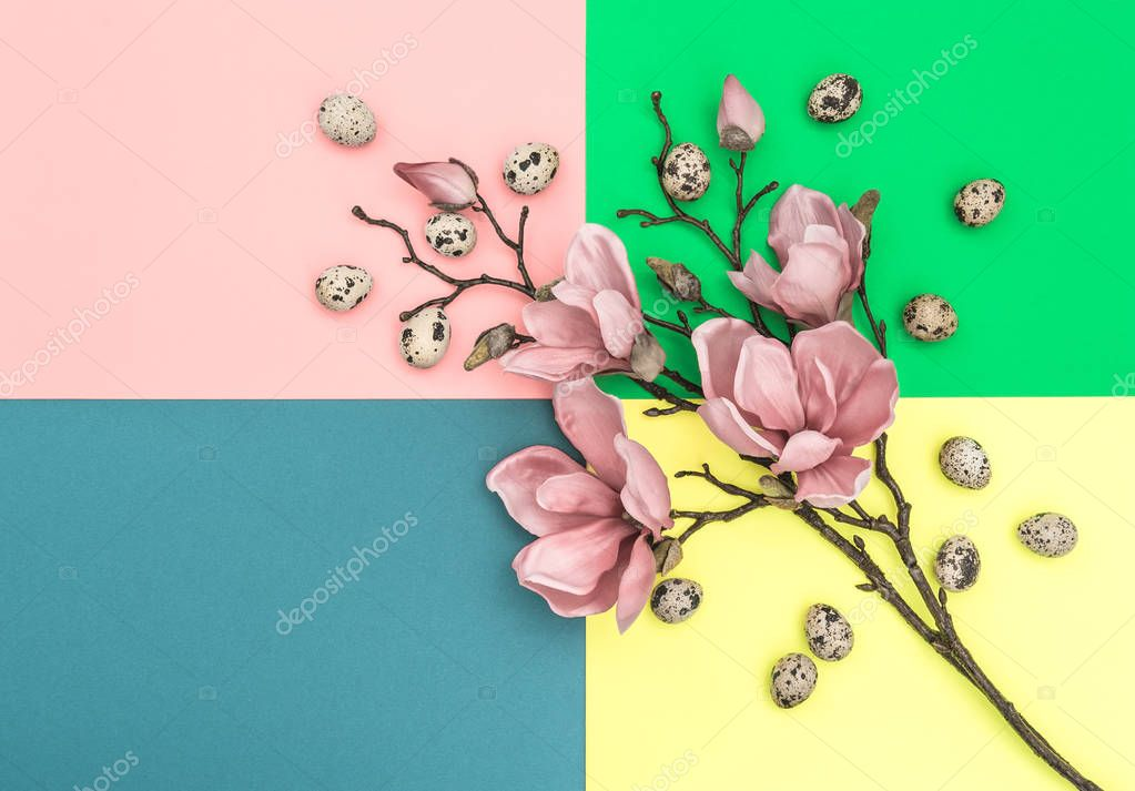 Magnolia flowers Easter eggs decoration Minimal flat lay