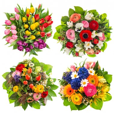 Colorful flower bouquets for Easter, Birthday, Wedding, Mothers Day. Multicolor floral decoration stock vector