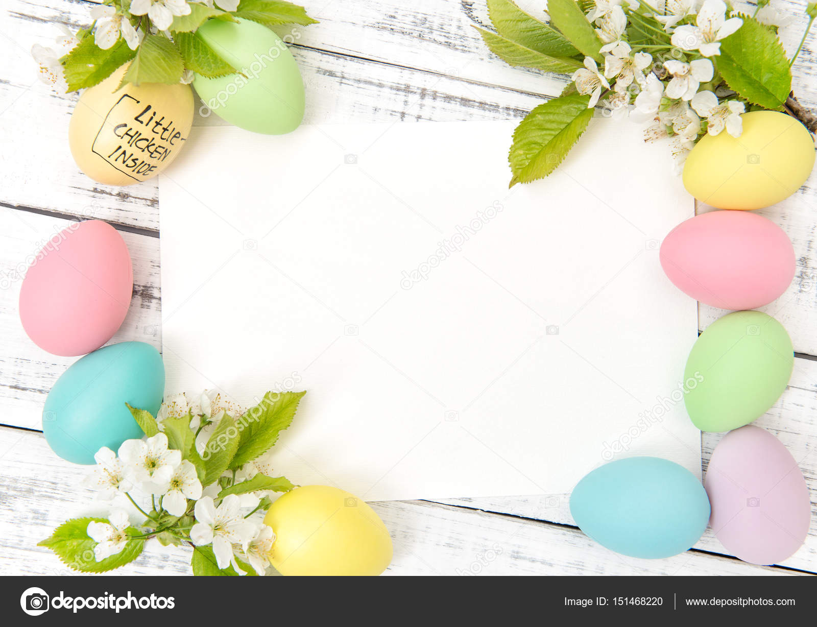Easter Greetings Card Pastel Eggs Decoration Spring Flowers Stock