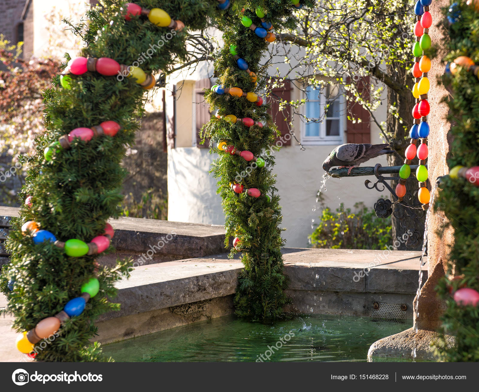 Easter Fountain Outdoor Decoration Sunny Spring Day Stock Photo