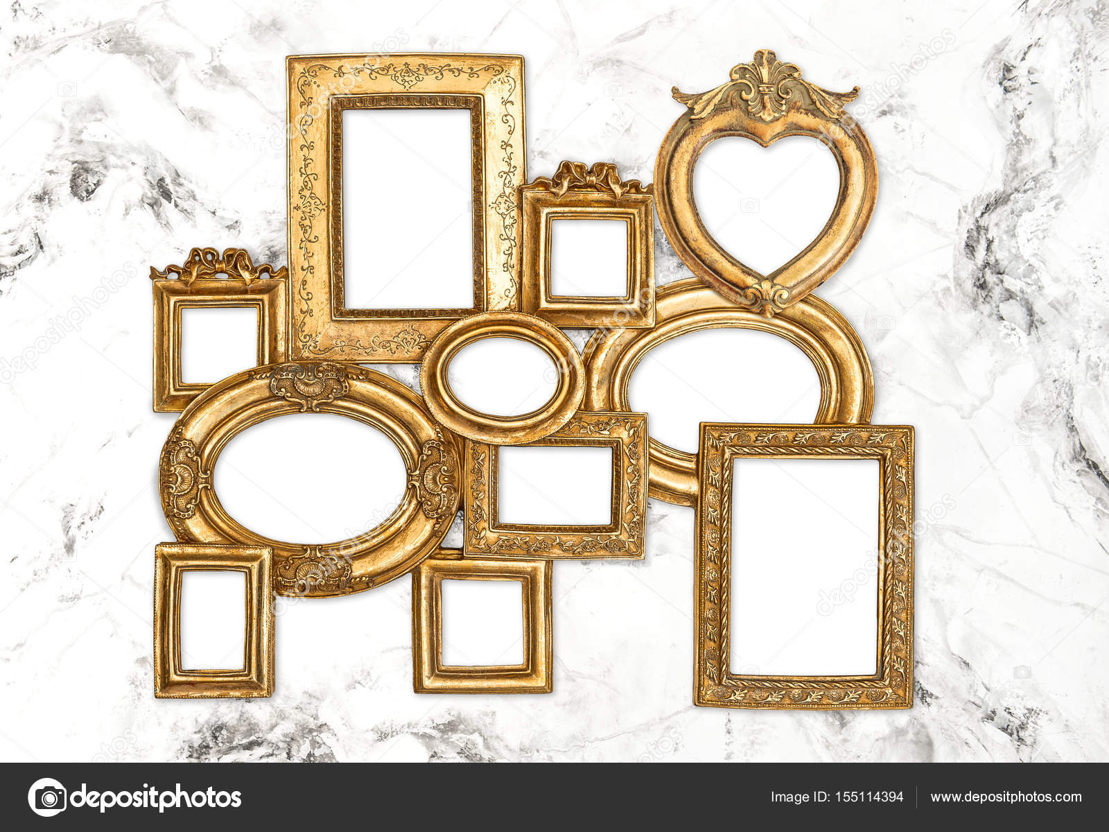baroque frame golden framework marble background stock photo